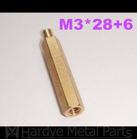 3*28+6 M3*28+6 Male-Female Brass standoffs hex pillar hex spacer M3 PCB 100pcs/lot Free shipping