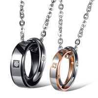 2014 Lover Days New Stainless Steel Couple Pendant Necklace Two Rings Interlocking W. Cubic Zirconia Pendant New Fashion Jewelry