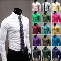 17-color large size men's business casual long-sleeved shirt Men's shirt dress shirt Slim men