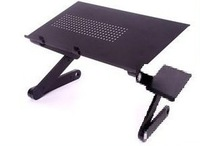 Free Shipping 18 INCH 48X27CM Black Laptop desk/ Table Folded aluminium Computer Table with Heat-Out  Hole Only with Mouse Pad