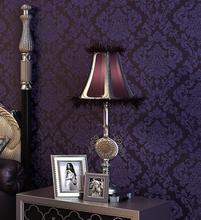 56 Sqf 10M Roll Luxury  Victorian Vintage Dark Purple Damask Fabric Wallpaper Bedroom Wallpaper Wall Covering(China (Mainland))