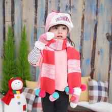 2014 Winter Child Cap Velvet Warm Hat Scarf Set Combination Free Shipping(China (Mainland))