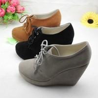 Size 30 31 32 33 Velvet lacing platform high heels shoes deep mouth women's wedges single shoes