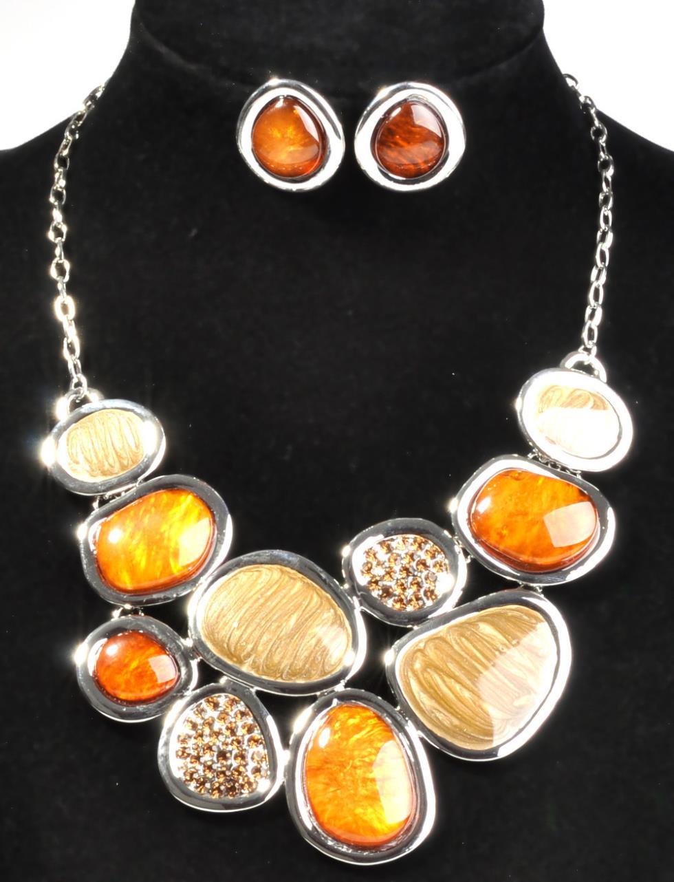 2014 New Fashion Jewelry Sets gunmatel plated Unique Design Party Gifts High Quality fashion jewelry sets,amber SWIRL ENAMEL(China (Mainland))