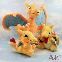 free shipping 3pcs/lot pokemon charizard plush toys stuffed animal doll