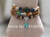 073 Handmade brown beads bracelet Cross charm with beads Triple wrap around Christian bracelet Religious jewelry Birthday gift