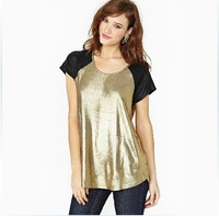 Free shipping new arrival European and American women short-sleeved summer shiny gold foil mosaic female black T-shirt 6 yards
