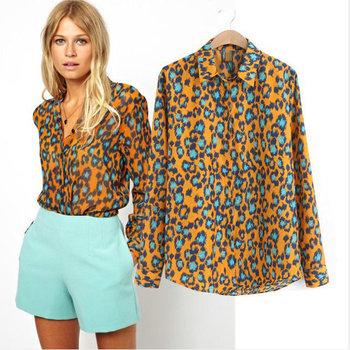 01J871 2014 женщин Мода Женская Элегантный леопардовым принтом блузка рубашка с длинным ...