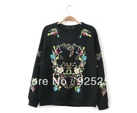 vintage sweater women fashion 2014 autumn winter cotton hoodie sweatshirt floral embroidery black warm long sleeve pullover