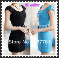 New fashion 2013 spring one-piece dresses women's summer o-neck slim all-match basic dress 10 color