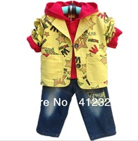 2014 new boys clothing set baby 3 piece suit coat+shirt+jeans pant for spring autumn kids clothes sets