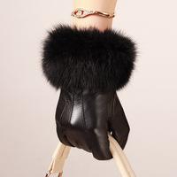 Genuine leather gloves female autumn and winter fashion sheepskin gloves female luxury rex rabbit hair