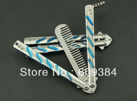 C39 Camping 3Cr13Mov Foldable Creative Hardness 55 HRC  Butterfly Swing Knife Comb Trainer