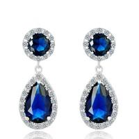 A88853 lady luxury wedding gift of birthday earrings/plating 18kt AAA zircon earrings White/purpleblue/champagne  earrings