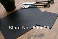 Set of 6 black embossed leatherboard placemats and coasters LE9001B