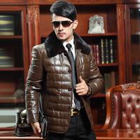 Male leather jacket outerwear ultralarge mink turn-down collar sheepskin genuine leather clothing male genuine leather down coat