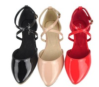 free shipping fashion pointed toe flat heel sandals female genuine leather flat shoes women's 34--43 size shoes