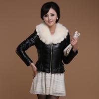 Sheep 2013 genuine leather sheepskin Women down coat fox fur rabbit fur collar fur 6127