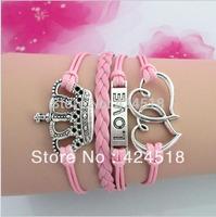 Free Shipping Antique Silver Heart to Heart, Love ,Crown Charms bracelet Pink Wrap Leather Wax Cords bracelet Karma Bracelet