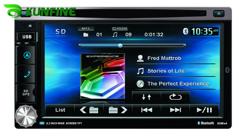 Wholesale price! 6.2 inch touch screen 2 Din Car DVD player with GPS, audio Radio stereo,FM,USB/SD,Bluetooth/TV KF-507A(China (Mainland))