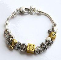 PB4 Silver European Style Alloy Charm Bracelet ,Panodra Brand Charm Bracelet Free Pink Pouch Gift