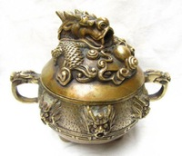 Beautiful chinese dragon carved brass incense burner 11x7x7.5 cm
