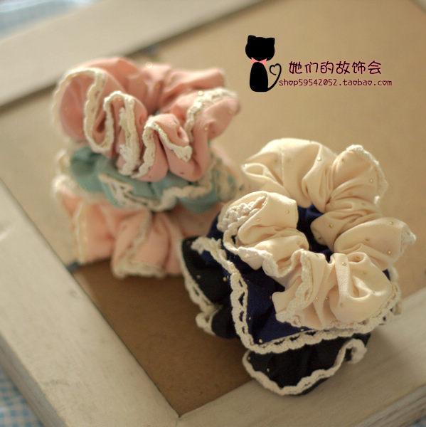 Lace chiffon japanese style headband hair accessory handmade headband rubber band ring sweet soft(China (Mainland))