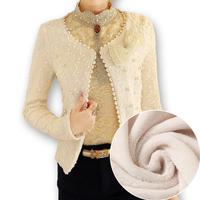 free shipping 2014 Autumn&winter sweet all-match velvet thickening beading short jacket elegant bow long-sleeve short coat
