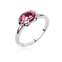 Free shipping! 2014 NEW Top Quality Crystal rings Crystal Diamante 18 K Platinum Plated Ring Rose colour R973-1