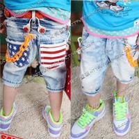 2014 summer flag male girls clothing baby jeans capris kz-0212  sxl