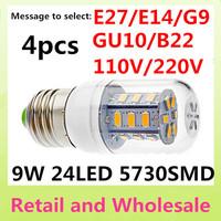 E27-9W -5730 SMD-24LED 4x Free Shipping+Waterproof LED Corn Light Bulbs Lamps E14 B22 G9 GU10 Warm White/White Home Lighting