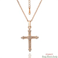 Cross Pendant Necklace Made With Swarovski Austrian Rhinestone Crystal, 18K Rose Gold Plated Nickel Free Fashion Jewelry N039