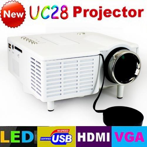 Freeshipping! UC28 with HDMI Mini Micro AV LED Digital Video Game Projectors Multimedia player Inputs AV VGA USB SD(China (Mainland))