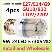 E27-9W -5730 SMD-24LED 4x Free Shipping+High Power LED Corn Light Bulbs Lamps Warm White/White Home Lighting
