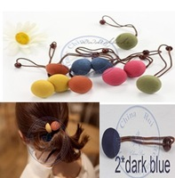 sweet fabric colorful buttons Rope Elastic Hair Ties Bands Headband Strap Girl's lady  wholesale retail