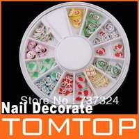 50sets/lot,120 Pcs Multicolor Christmas Product Fimo Nail Art Nail Tips Slice Decoration Wheel, Free Shipping, Dropshipping