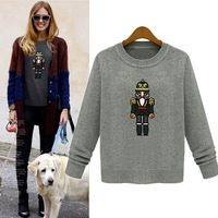 2013 Winter Casual Women Pullover sweaters long sleeve oversized O-neck sweaters embroidery paillette tops chest 108cm