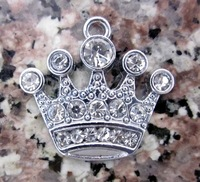 Wholesale Lots 50 Pcs DIY Rhinestone King Crown Charm 15*18MM