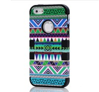 Red Tribal Pattern Aztec Tribe Cover Hybrid PC + Silicone 3 in 1 Retro Vintage Case For iPhone 5S 5 drop shipping DHL