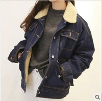 Berber fleece thickening turn-down collar long-sleeve loose denim outerwear autumn and winter female