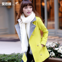 Enya 2013 fur collar wool coat slim woolen outerwear plus cotton thickening female