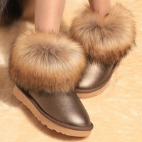2013 female boots snow boots fox fur one piece cotton-padded shoes winter women's shoes