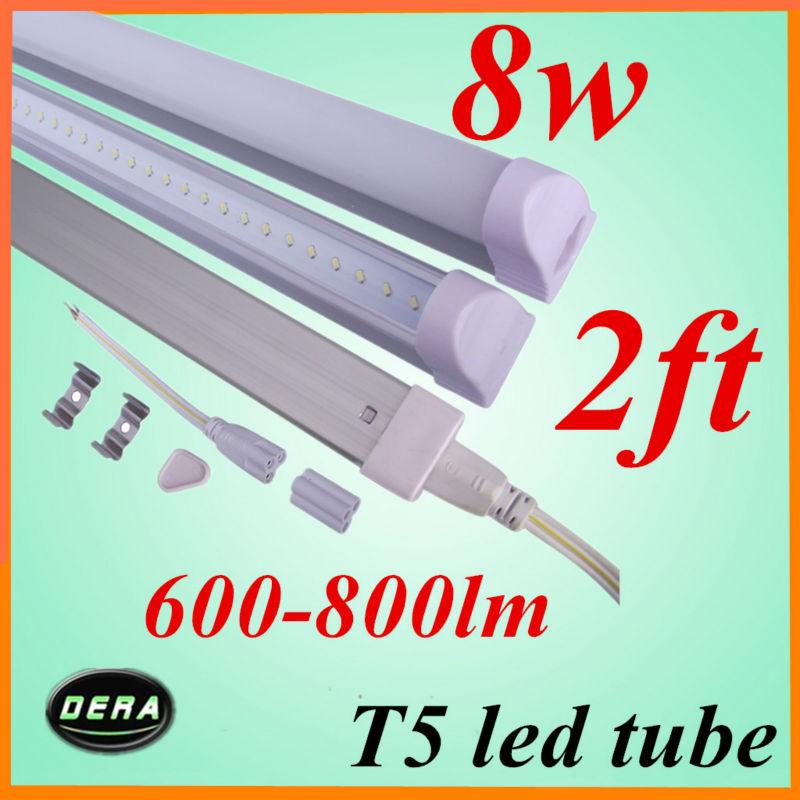 free shiping 25pcs T5 led tube 600mm 8w 85-265V 600-800lm 220v 2ft light bulb 120v led fluorescent tube home use factory outlet(China (Mainland))