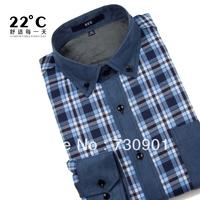 Men winter thermal shirt male casual thermal long-sleeve shirt plaid plus velvet thickening slim men's clothing