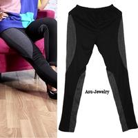 Autumn and winter female elastic legging fashion legging color block decoration ankle length trousers