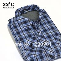 Male thermal shirt male body free thermal long-sleeve Polo Dress shirt plaid plus velvet thickening slim men's clothing