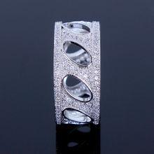 New2014 Fashion Woman Platinum Plated Luxury Flower Shape wedding rings Top Grade Zirconia Crystal P Propose