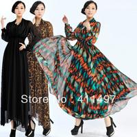Hot Elegant Long Maxi Long Tall Women long sleeve Dresses/3 Stylish Mandarin Collar silky chevron  spring dress