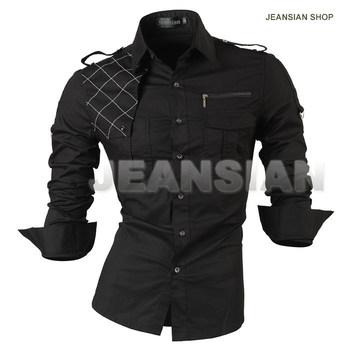 ! 2014 Повседневный slim fit Длинный-Рукавd men's dress рубашка Korean Стильs ...