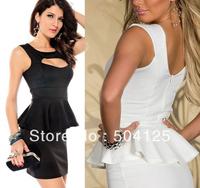Womens Sexy cutout Peplum Party Cocktail mini Dress Bodycon clubwear corset OL
